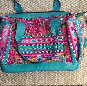 Handbags - Embroidered convertible bag